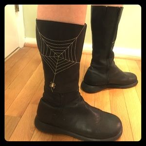 Shoes - Black leather boots with spider web detail